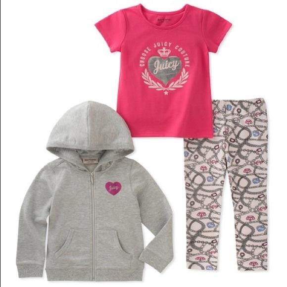 Juicy Couture Gray Royal Heart Zip-Up Hoodie Set
